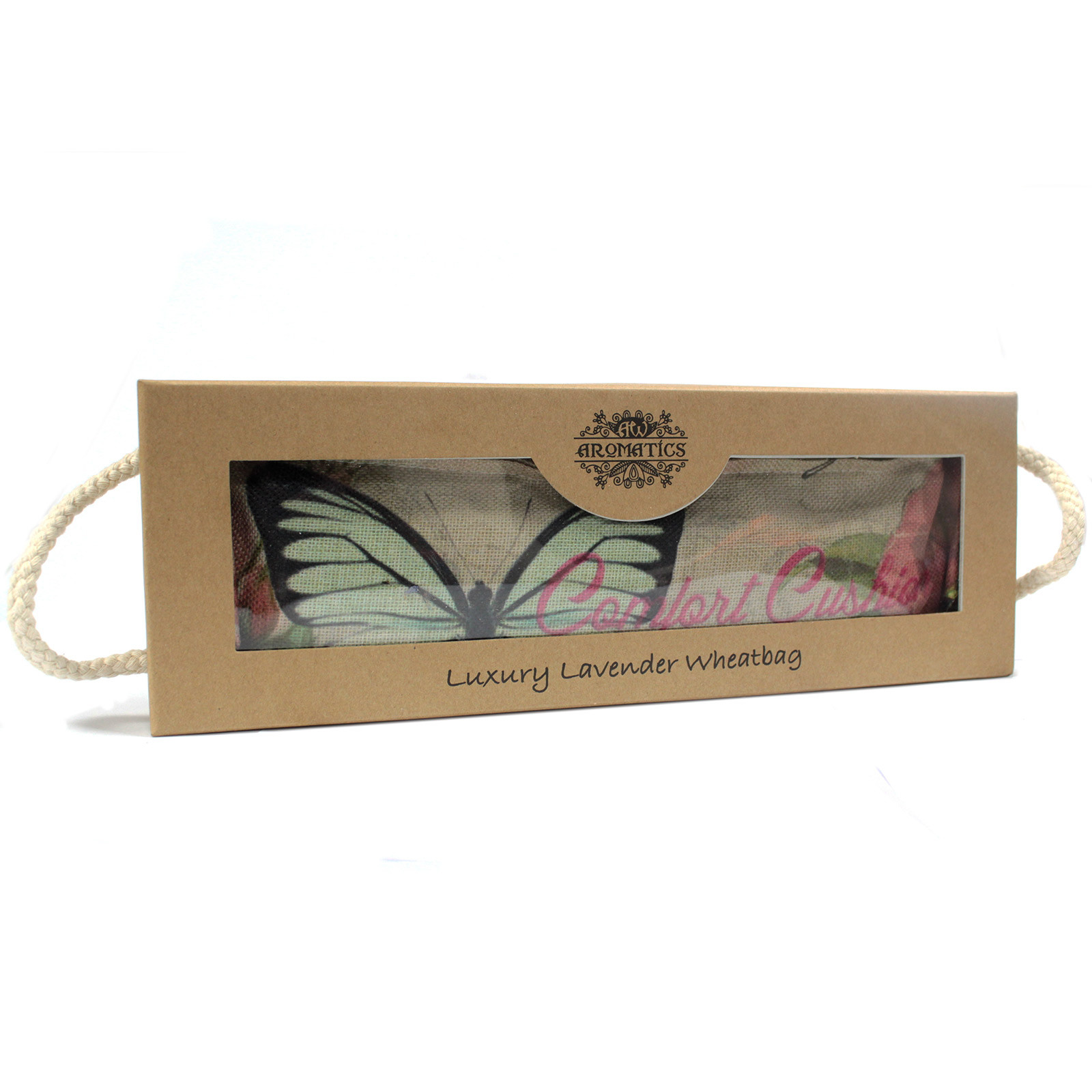 Luxury Lavender Wheat Bag in Gift Box - Butterfly & RosesBag in